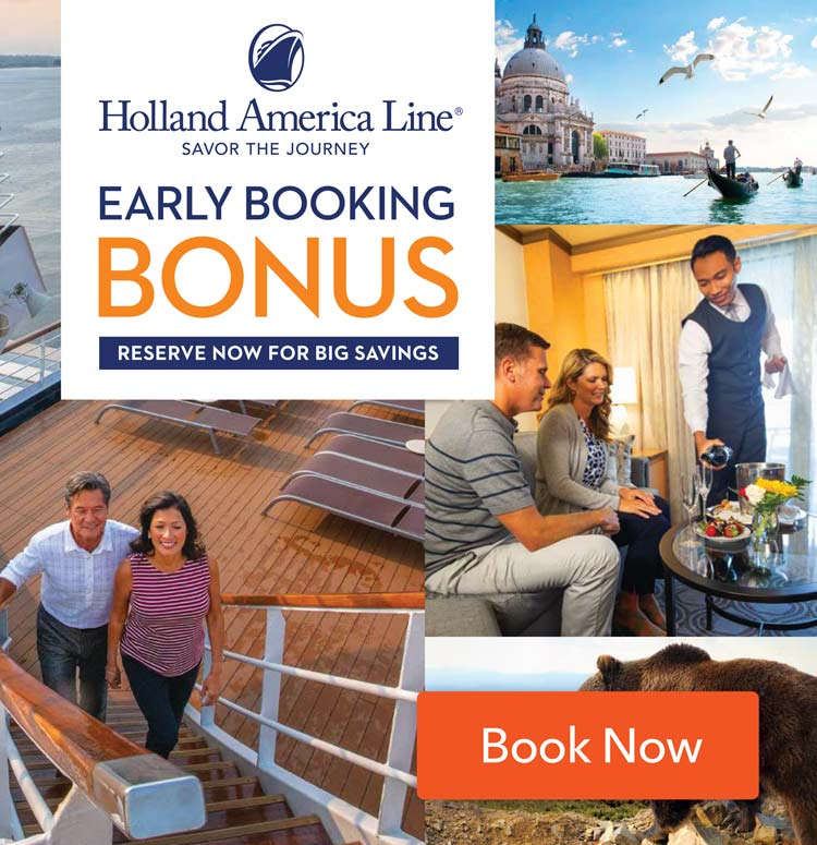 Holland America Early Booking Bonus 2019 Top Tile CC